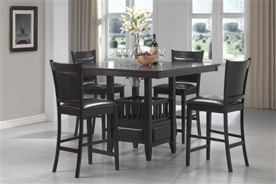 Espresso Finish Counter Height Dining Set with Lower Storage