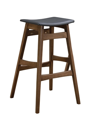 Set of 2 walnut finish bar stools with grey leatherette seats
