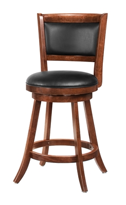 Traditional Solid Wood & Leather Swivel Counter Height Stool