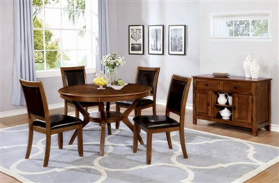5 piece deep brown finished dining set