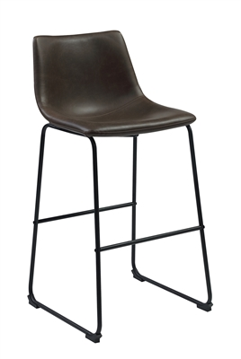 Bar Stool in 2-Tone Brown Leatherette