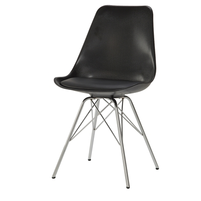 Retro Style Black Bucket Seat Dining Side Chair with Chrome Legs