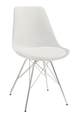 Retro Style White Bucket Seat Dining Side Chair with Chrome Legs