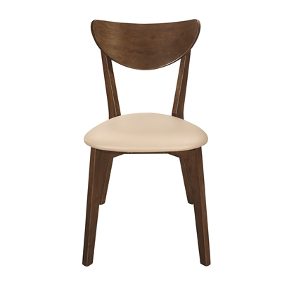 Retro Style Chestnut Finish Side Chair with Black Leatherette Padded Seat
