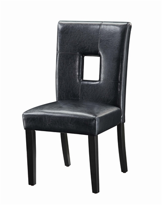 Contemporary Black Leatherette Side Chair with Black Legs