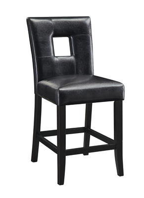 Contemporary Black Leatherette Counter Height Chair with Black Legs