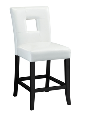 Contemporary White Leatherette Counter Height Chair with Black Legs