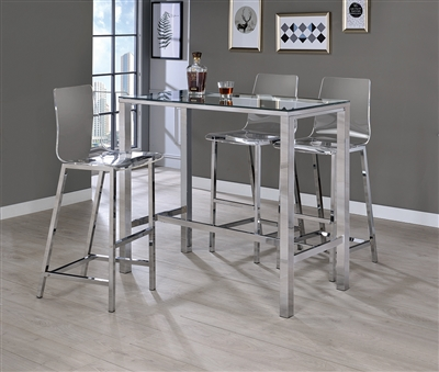 Chic 5-Piece Bar Set with Acrylic Bar Stools