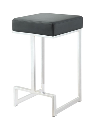 Square Counter Height Stool Black And Chrome - Coaster