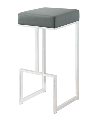 Square Bar Stool Grey And Chrome - Coaster