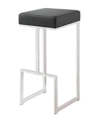 Square Bar Stool Black And Chrome - Coaster
