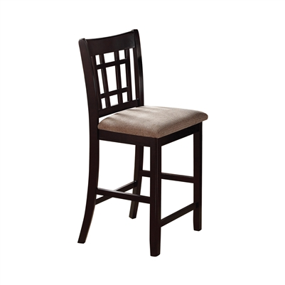 Lavon Espresso Counter Height Lattice Back Chair (Set of 2)