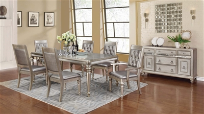 Contemporary Silver Finish Dining Set