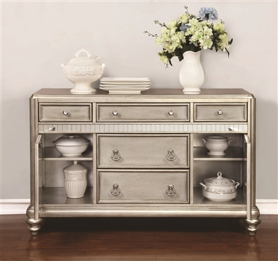 Metallic Platinum Finish Dining Server