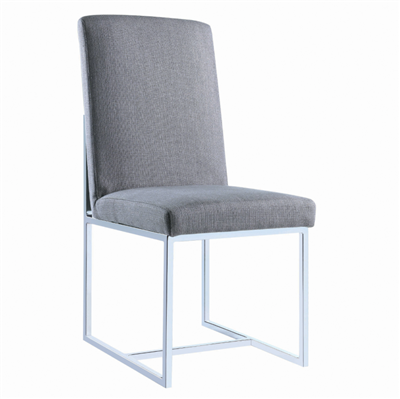 Mackinnon Upholstered Side Chairs Grey And Chrome (Set Of 2)