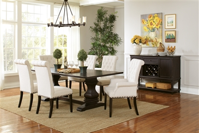 Rustic Espresso Finish 7 Piece Dining Set with Bright White Chairs