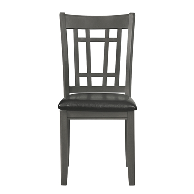 Transitional Medium Grey Finish Side Chair with Padded Leatherette Seat