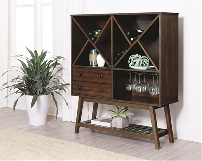 Milton Teak Finish Mid-Century Modern Bar Unit