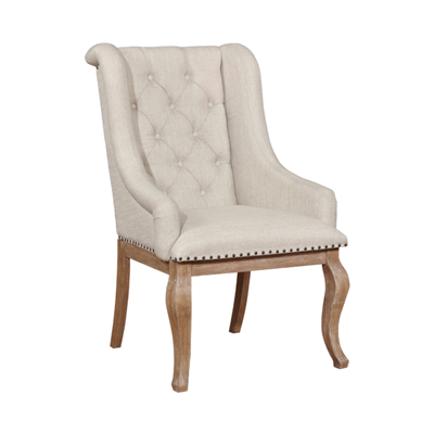 Brockway Cove Tufted Arm Chairs Cream And Barley Brown (Set Of 2)