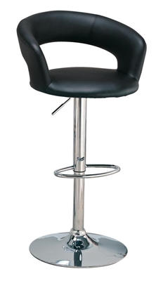 29″ Adjustable Height Bar Stool Black And Chrome - Coaster