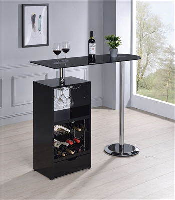 High Gloss lacquer Finished Bar Unit with Wine Rack Available in White or Black