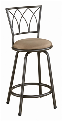 Transitional Style Swivel Bar Stool in Black and Silver