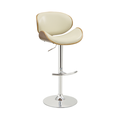 Adjustable Bar Stool Cream And Chrome