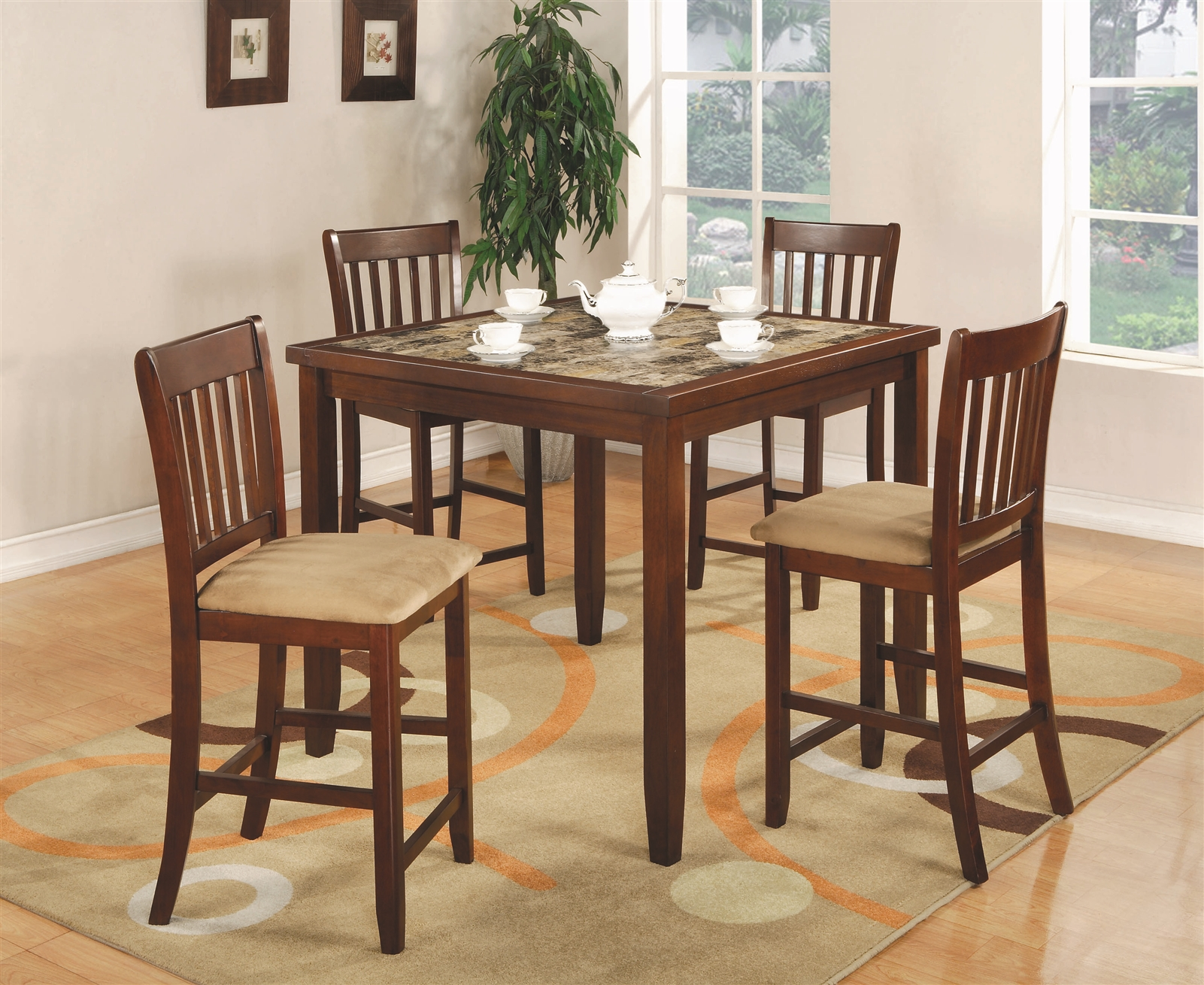 Melody 5-Piece Warm Brown Counter Height Set w/ Faux Marble Top