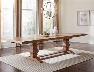 Traditional Rustic Smoke Finish Solid Wood Dining Table