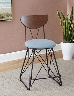 Semicircle Back Counter Height Stools Black And Blue (Set Of 2)