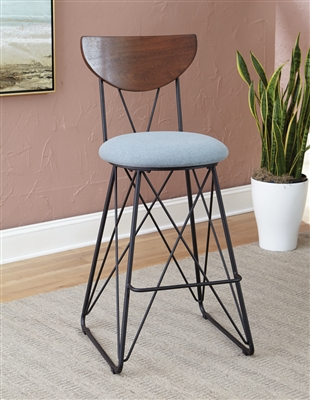 Semicircle Back Bar Stools Black And Blue (Set Of 2)