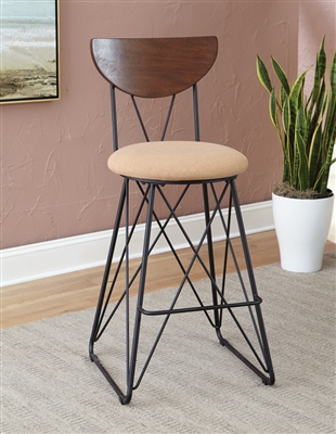 Semicircle Back Bar Stools Black And Gold (Set Of 2)