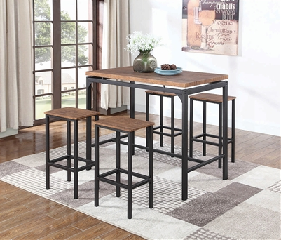 Industrial Style 5 Piece Bar Height Set