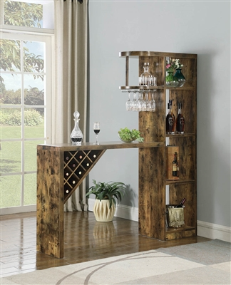 5-Shelf Walnut Finish Bar Table with Wine Storage