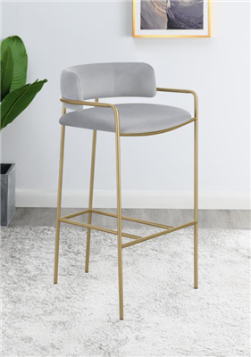 Amsher Modern Bar Stool in Gray & Gold