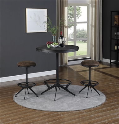 Wire Brushed Black Finish Round Bar Table