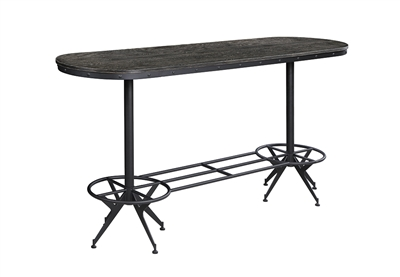 Wire Brushed Black Finish Oval Bar Table