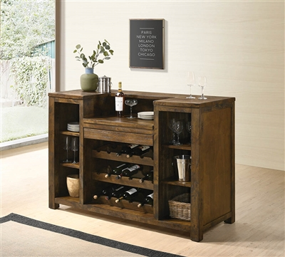 Bane Rustic Oak Finish Bar Unit