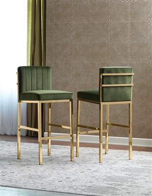 Upholstered Counter Height Stools Rose Gold And Green (Set Of 2)