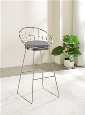 Modern Wire Back Bar Stool Available in Nickel or Gold Finish