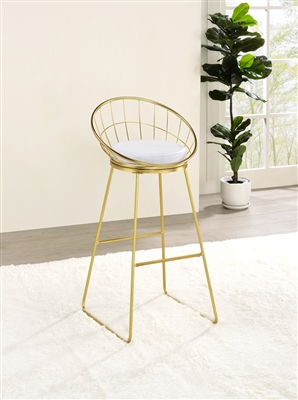 Modern Wire Back Bar Stool Available in Nickel or Brass Finish