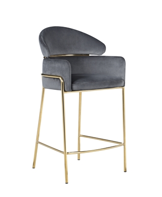 Arched Back Counter Height Stool Grey And Brass - Coaster