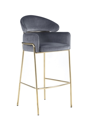 Arched Back Bar Stool Grey And Brass - Coaster