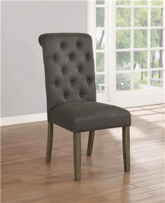 Calandra Tufted Back Side Chairs Rustic Brown And Grey (Set Of 2)