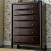 Contemporary 6 Drawer Tall Chest in Cappuccino Finish