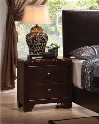 2-Drawer Nightstand with Faux Marble Top in Cappuccino Finish