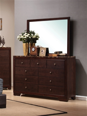9-Drawer Dresser with Faux Marble Top in Cappuccino Finish