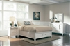 White Cottage Style Platform Sleigh Bed with Storage