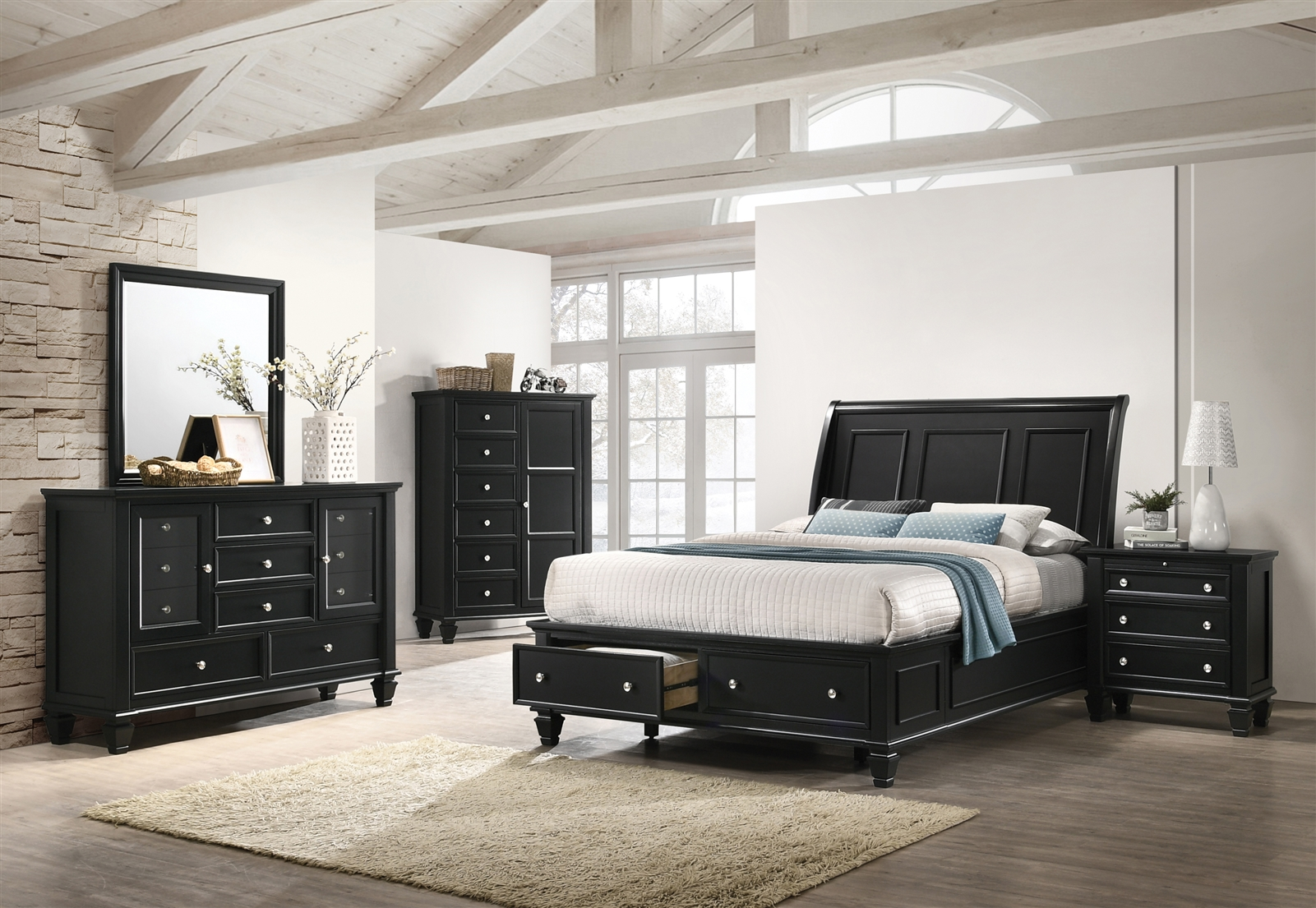 Queen Size Cottage Sleigh Bed with Storage in Black