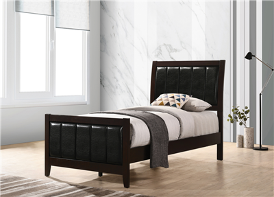 Clay Collection Contemporary Twin Bed with Upholstered Headboard